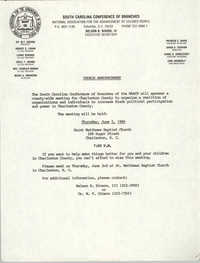 South Carolina Conference of Branches of the NAACP Announcement, June 2, 1988