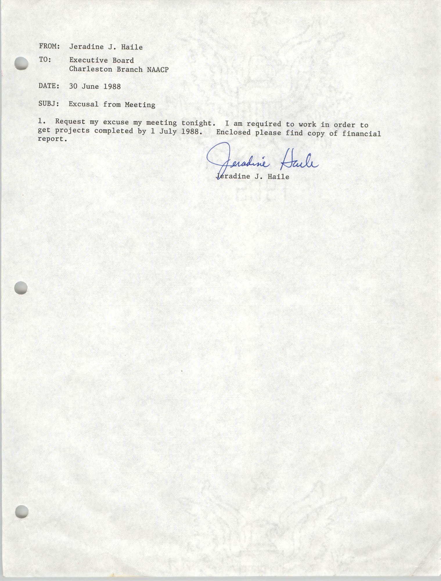 Charleston Branch of the NAACP Memorandum, June 30, 1988