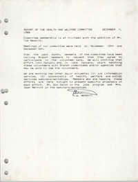 Report on the Health and Welfare Committee, December 7, 1988