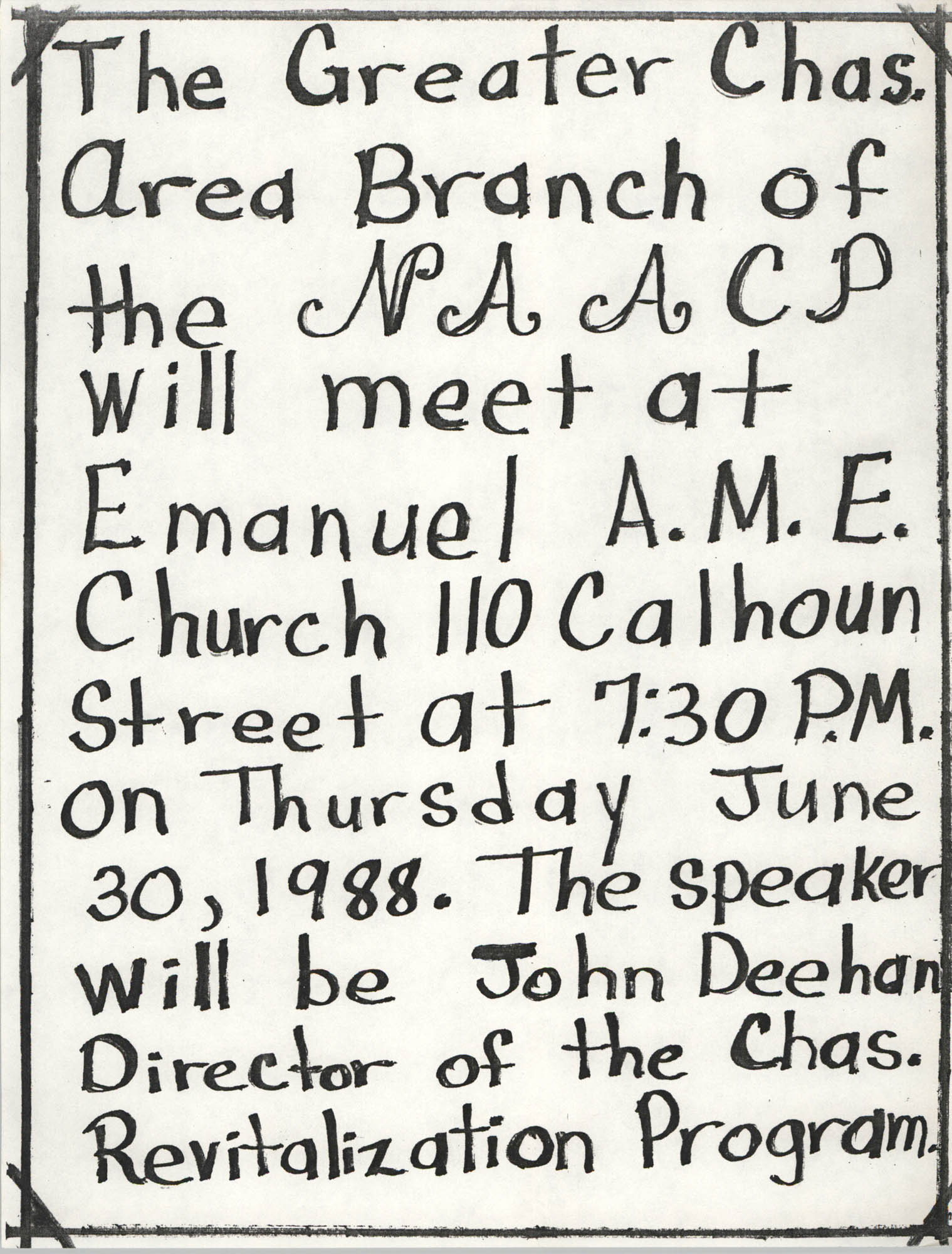 Flyer, Charleston Branch of the NAACP, June 30, 1988