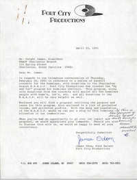Letter and Proposal from James Odom to Dwight James, April 2, 1991