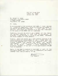 Letter from R. W. Merritt to Dwight C. James, January 20, 1989