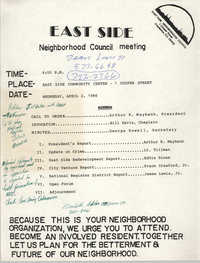 East Side Neighborhood Council Meeting Agenda, April 2, 1986
