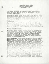 Minutes, Charleston Branch of the NAACP Executive Board Meeting, December 7, 1988