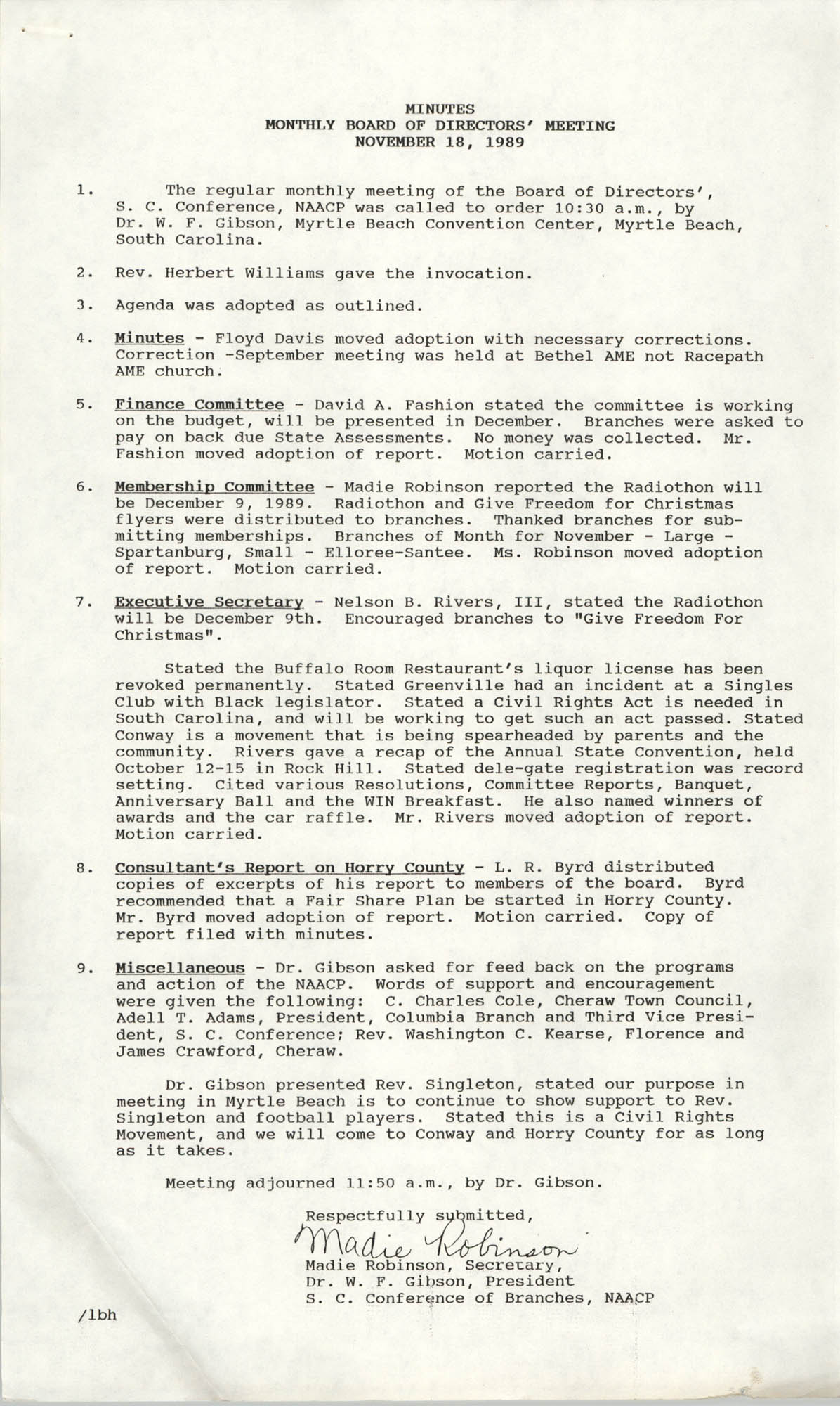 South Carolina Conference of Branches of the NAACP Memorandum, November 18, 1989