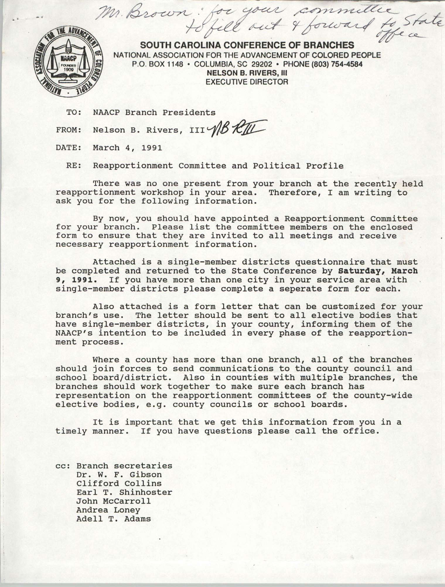 South Carolina Conference of Branches of the NAACP Memorandum, March 4, 1991