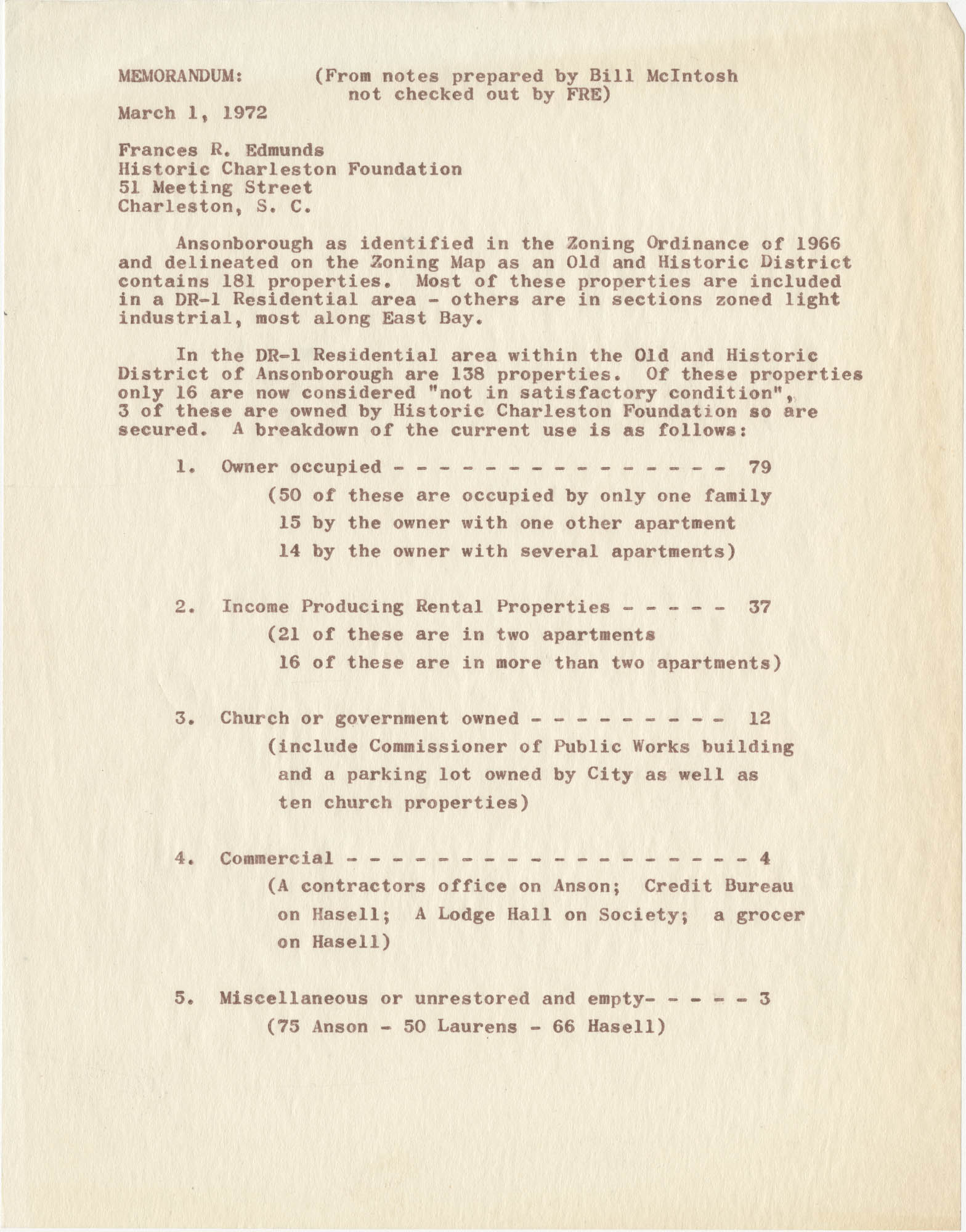 Memorandum from Frances R. Edmunds