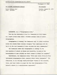 Press Release Statement, United States Commission on Civil Rights, August 24, 1976