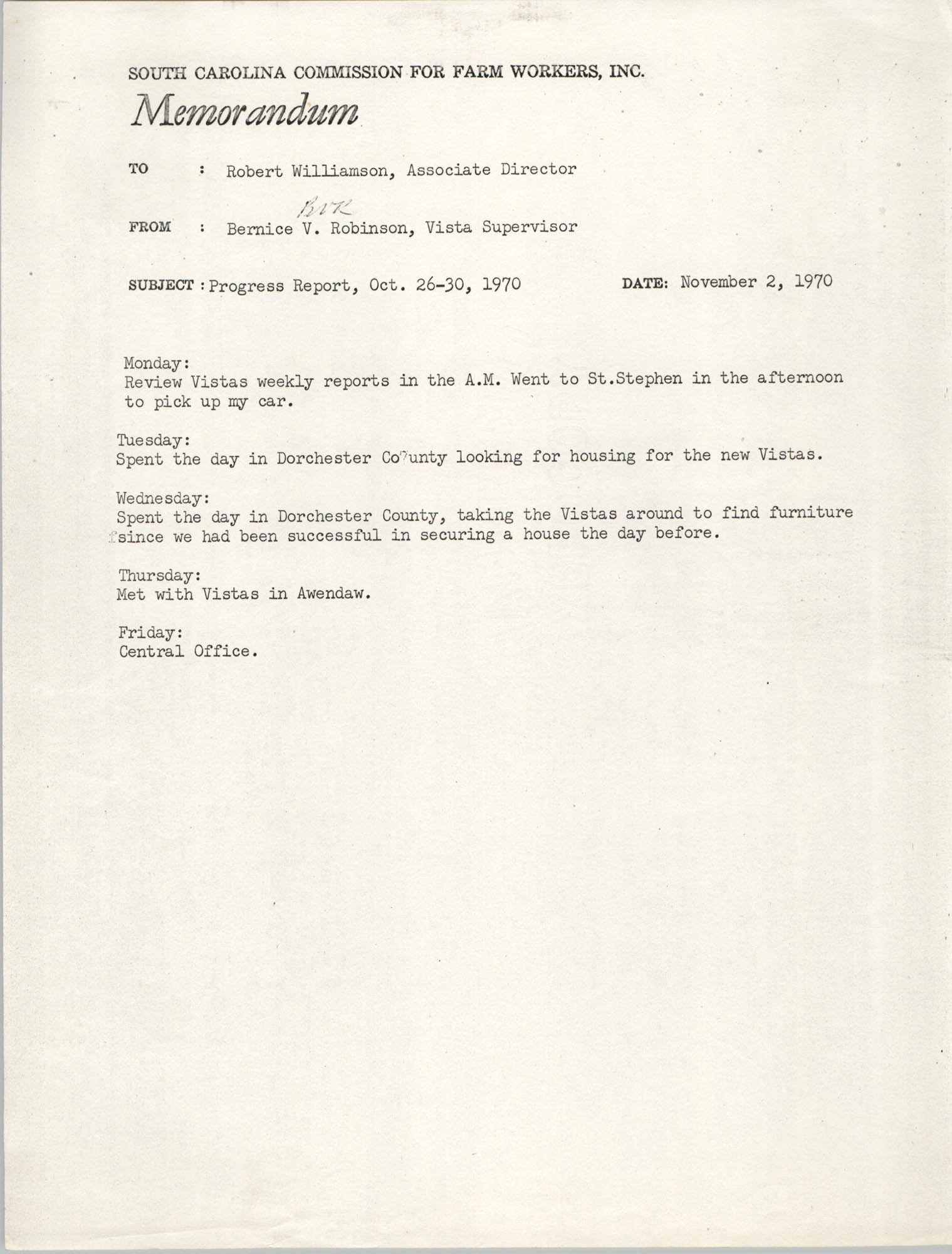 Memorandum from Bernice V. Robinson to Robert Williamson, November 2, 1970