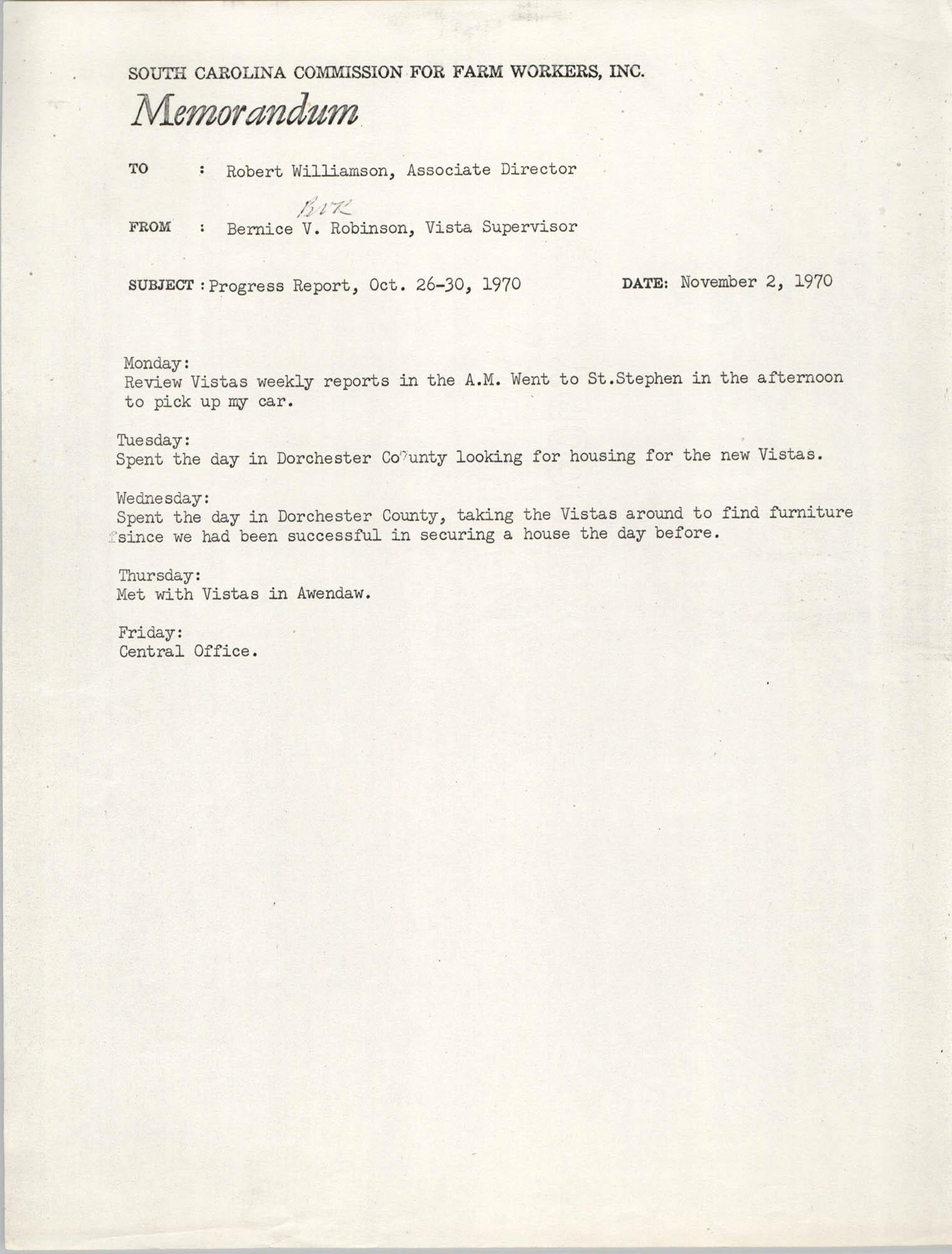 Memorandum from Bernice V. Robinson to Robert Williamson, November 2, 1970