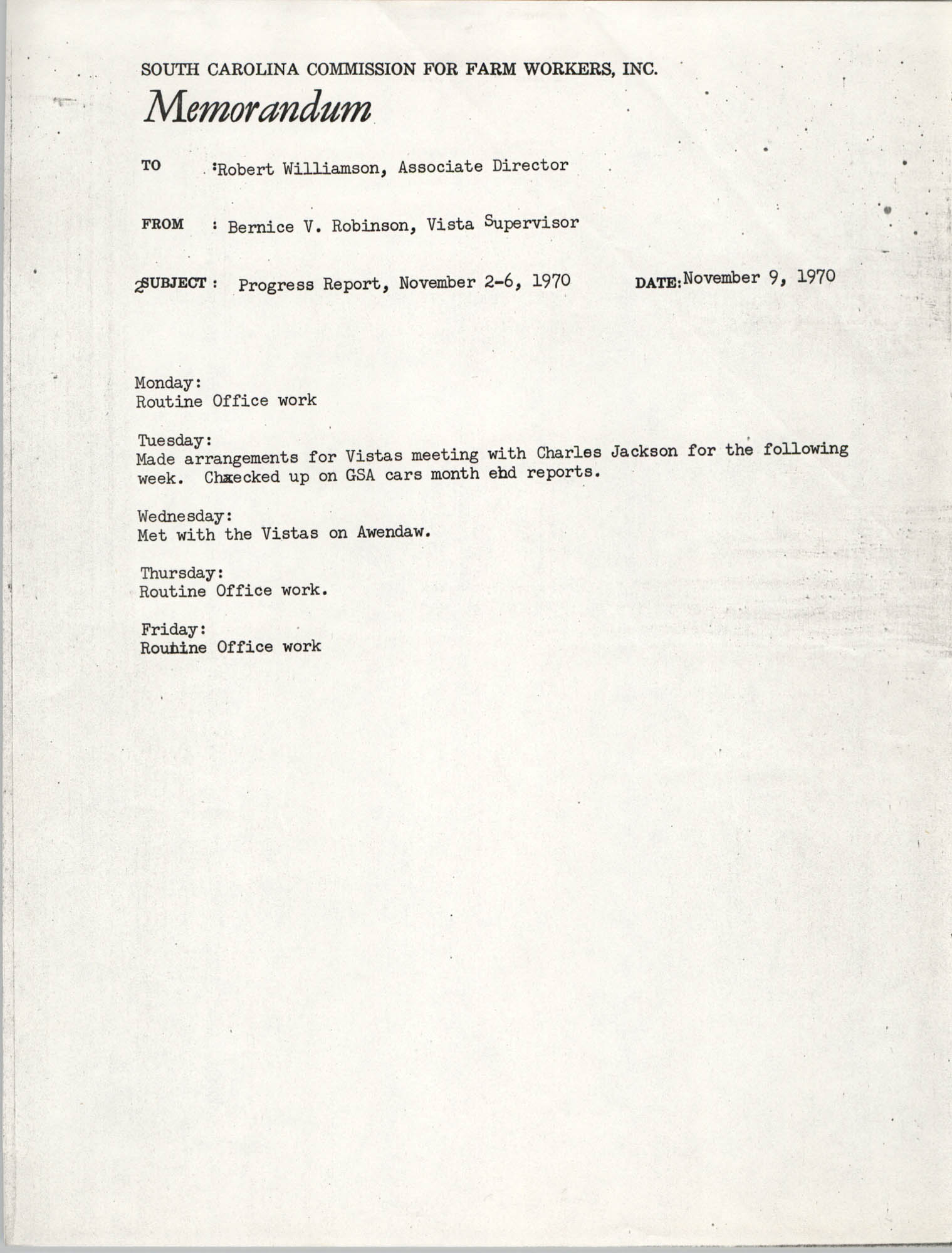 Memorandum from Bernice V. Robinson to Robert Williamson, November 9, 1970