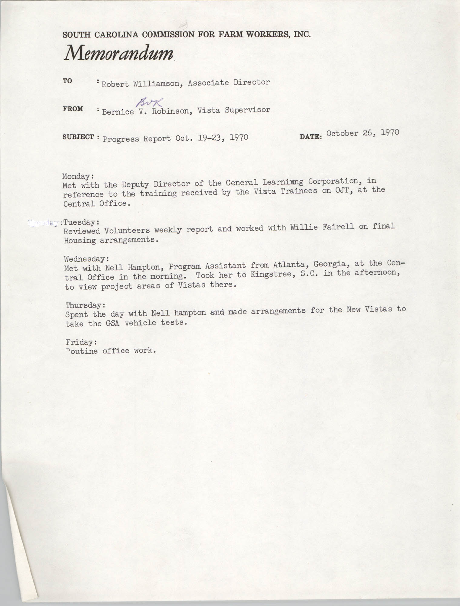 Memorandum from Bernice V. Robinson to Robert Williamson, October 26, 1970