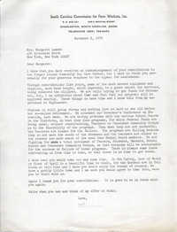 Letter from Karney Platt to Margaret Lamont, November 2, 1970