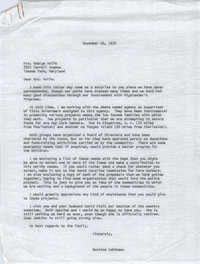 Letter from Bernice V. Robinson to George Wolfe, November 20, 1970