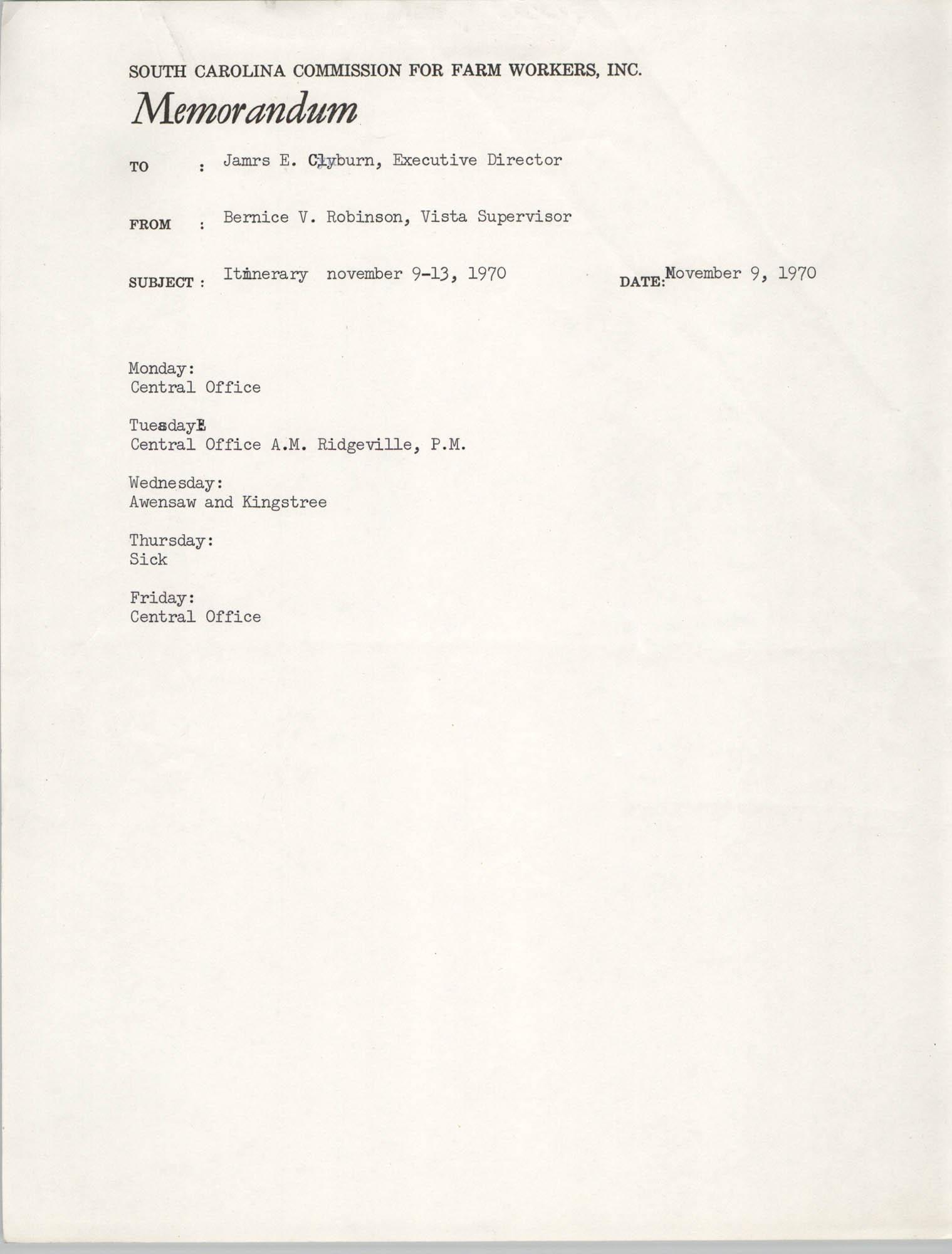 Memorandum from Bernice V. Robinson to James E. Clyburn, November 9, 1970