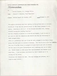 Memorandum from Bernice V. Robinson to Charles Jackson, November 9, 1970