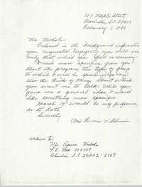 Letter from Bernice Robinson Elaine Nichols, February 1, 1988