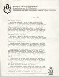 Letter from Stephanie Smith to Bernice Robinson, July 24, 1986
