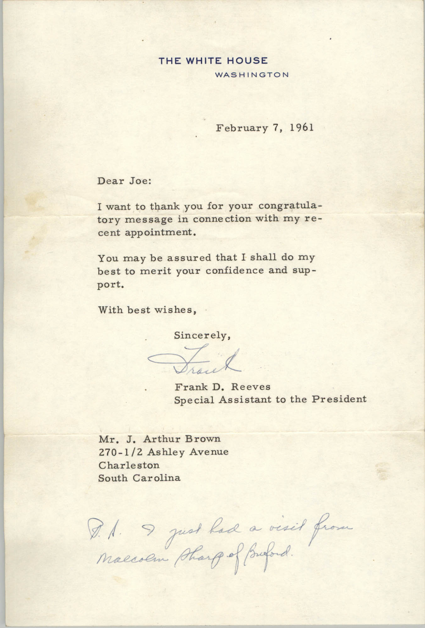 Letter from Frank D. Reeves to J. Arthur Brown, February 7, 1961