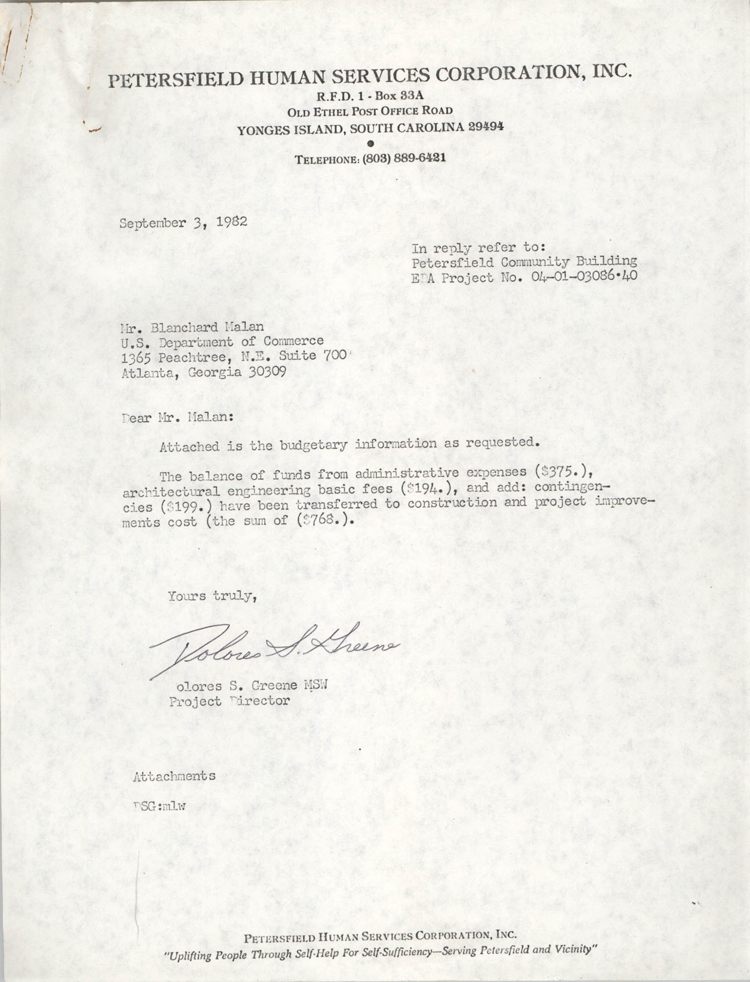 Letter from Dolores S. Greene to Blanchard Malan, September 3, 1982