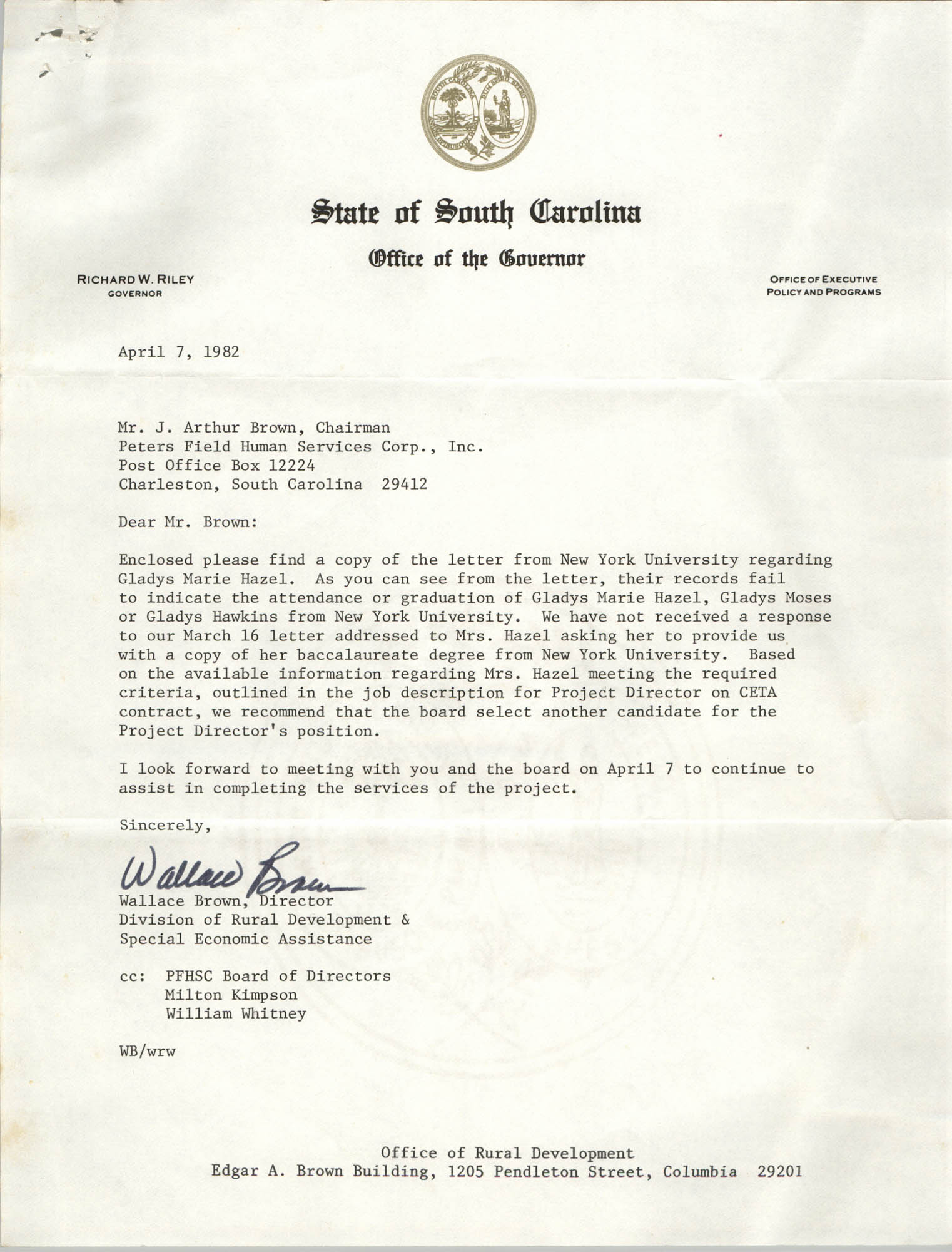 Letter from Wallace Brown to J. Arthur Brown, April 7, 1982