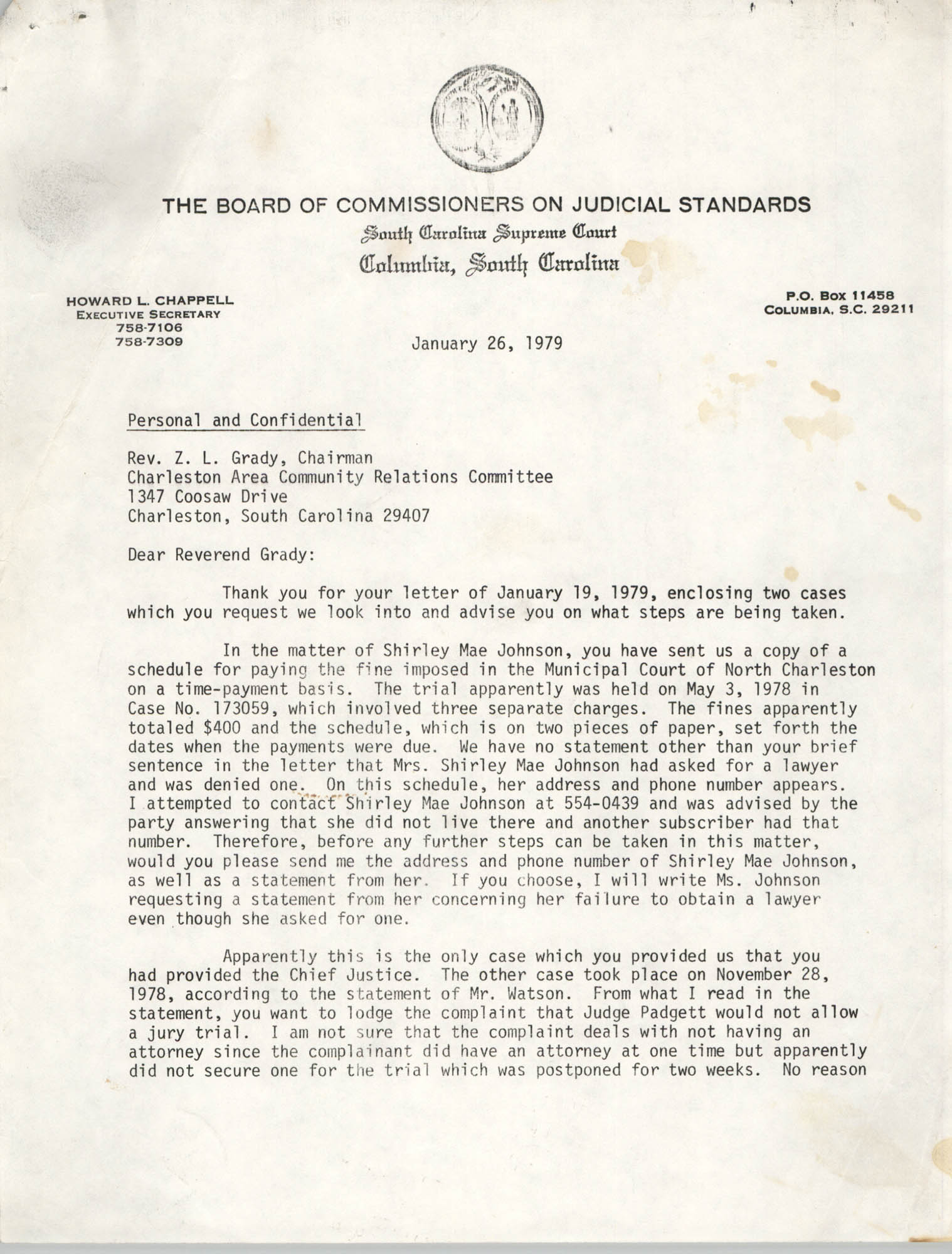 Letter from Howard L. Chappell to Z. L. Grady, January 26, 1979