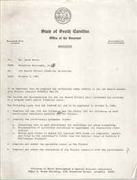 State of South Carolina, Office of the Governor, Memorandum, October 5, 1981