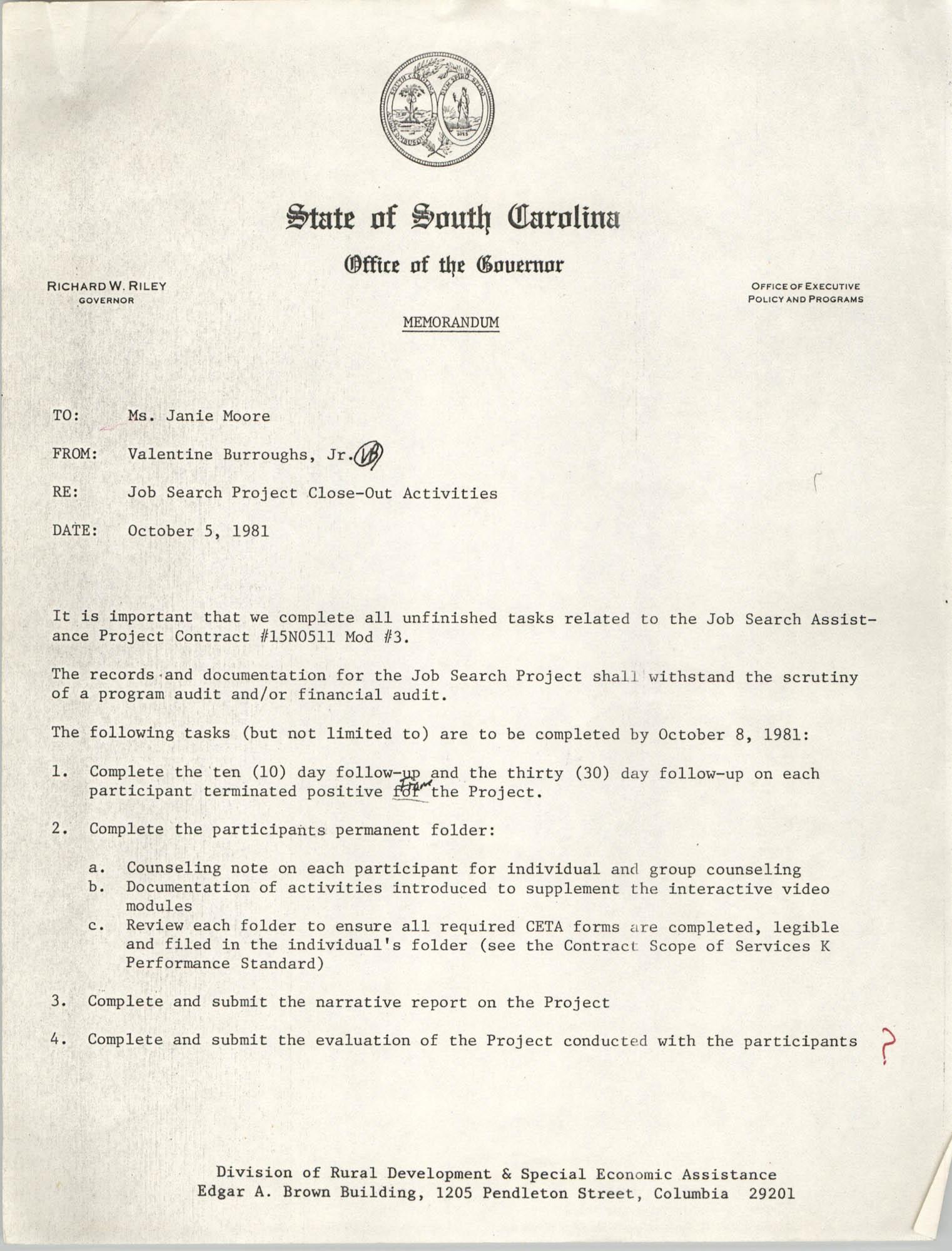 State of South Carolina, Office of the Governor, Memorandum, October 5, 1981