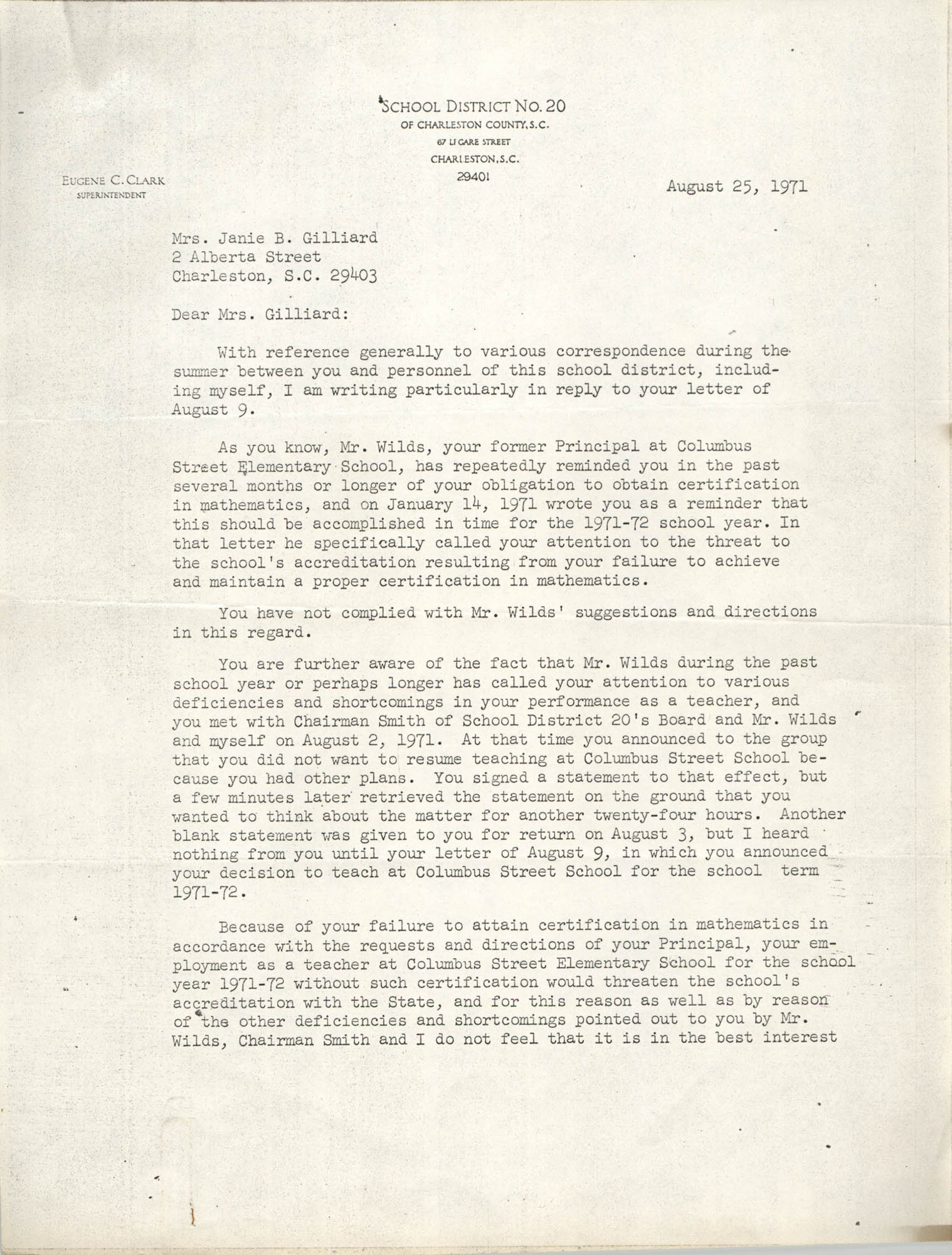 Letter from Eugene C. Clark to Janie B. Gailliard, August 25, 1971