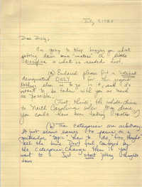 Letter from Millicent Brown to J. Arthur Brown, July 7, 1987