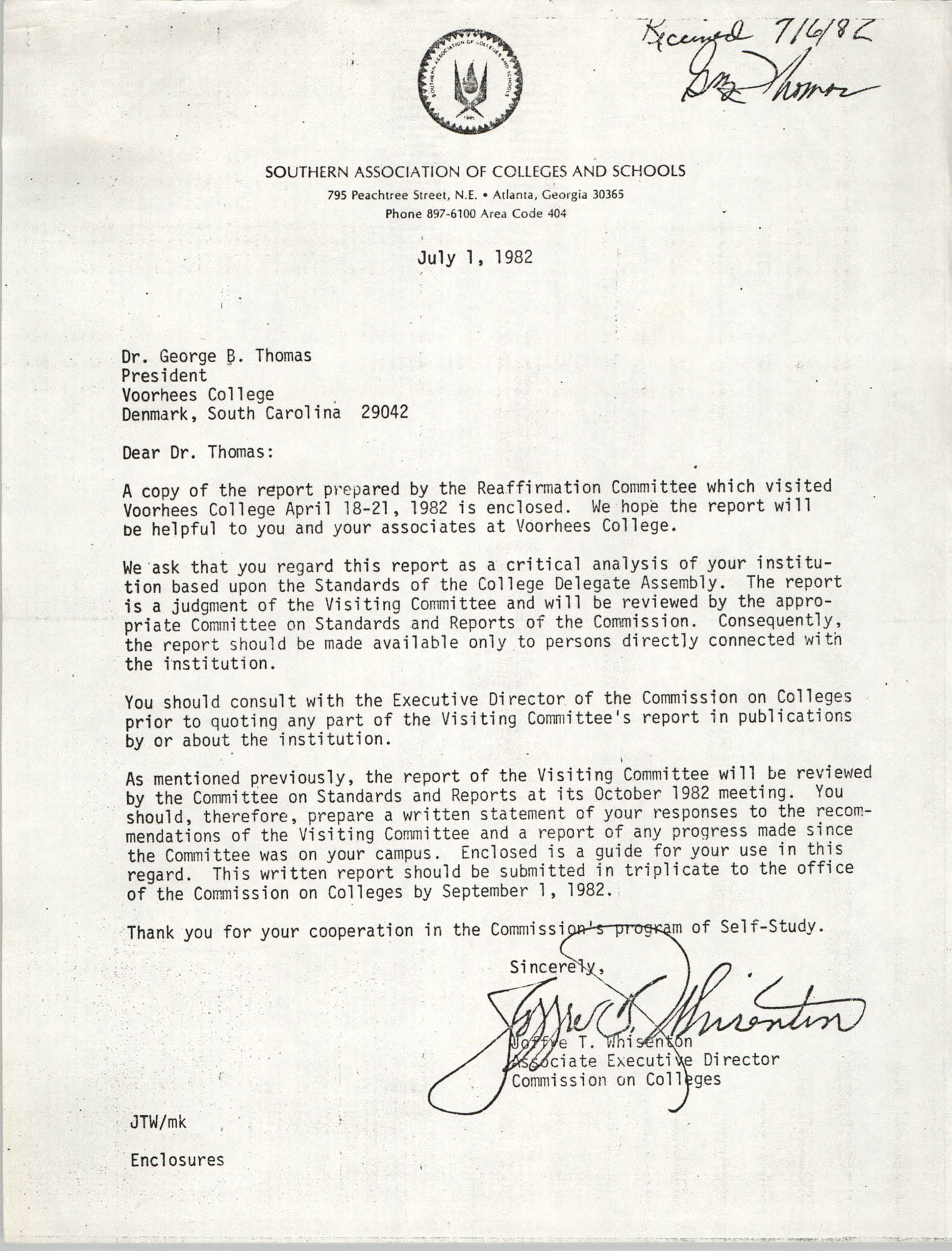 Letter from Joffre T. Whisenton to George B. Thomas, July 1, 1982