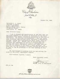 Letter from Joseph P. Riley, Jr. to Z. L. Grady, January 30, 1980