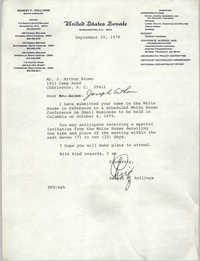 Letter from Ernest F. Hollings to J. Arthur Brown, September 19, 1978