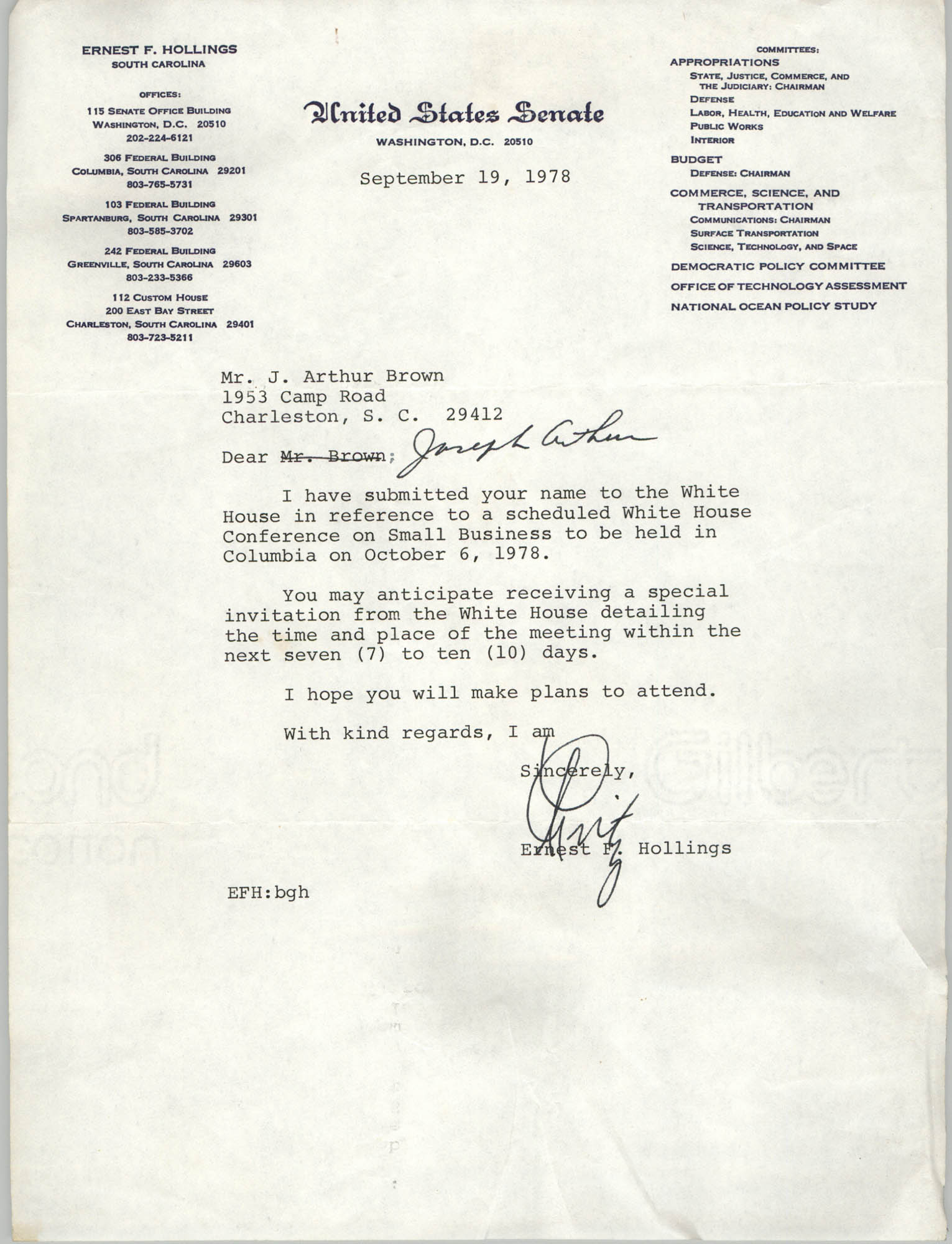 Letter from Ernest F. Hollings to J. Arthur Brown, September 19, 1978