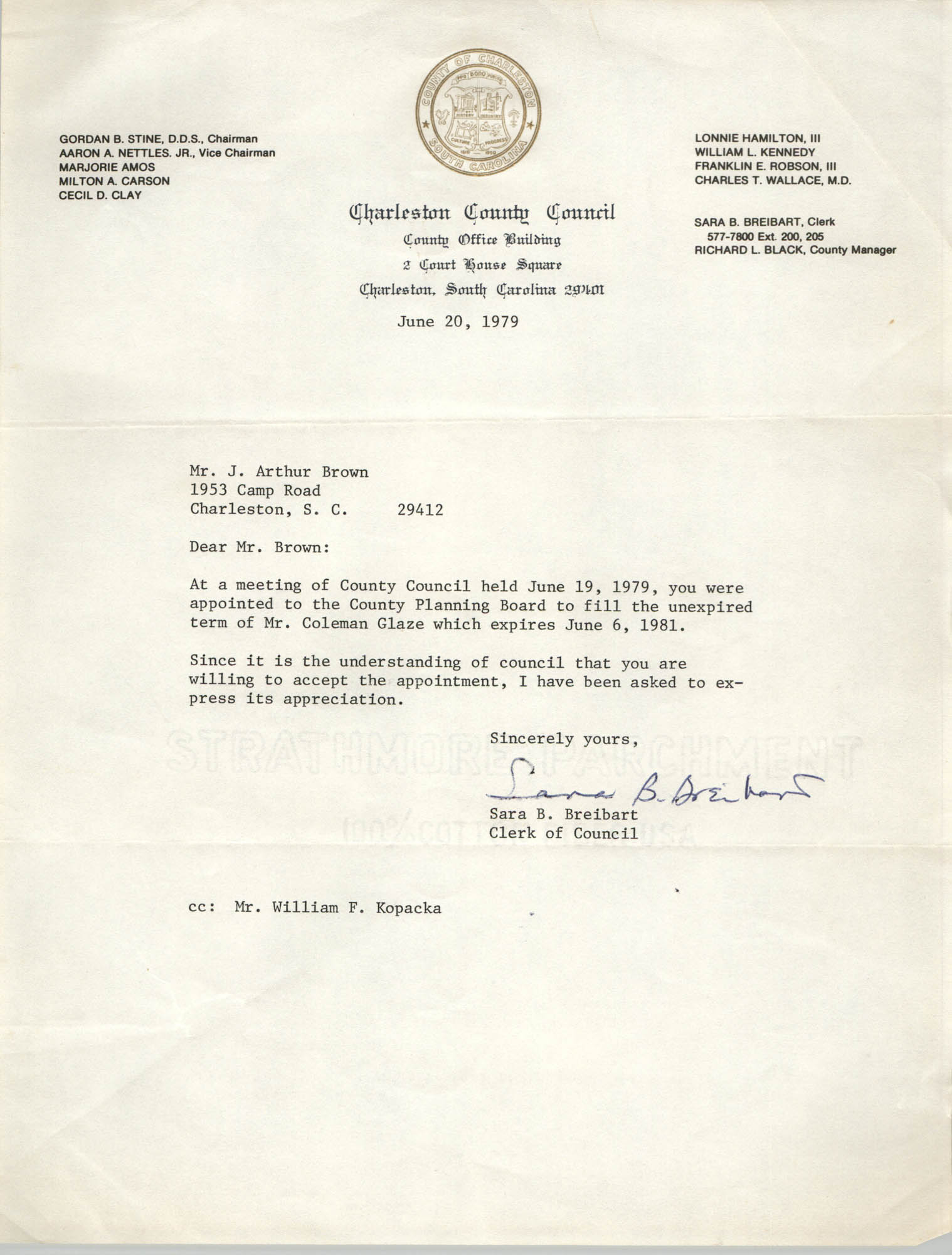 Letter from Sara B. Breibart to J. Arthur Brown, June 20, 1979