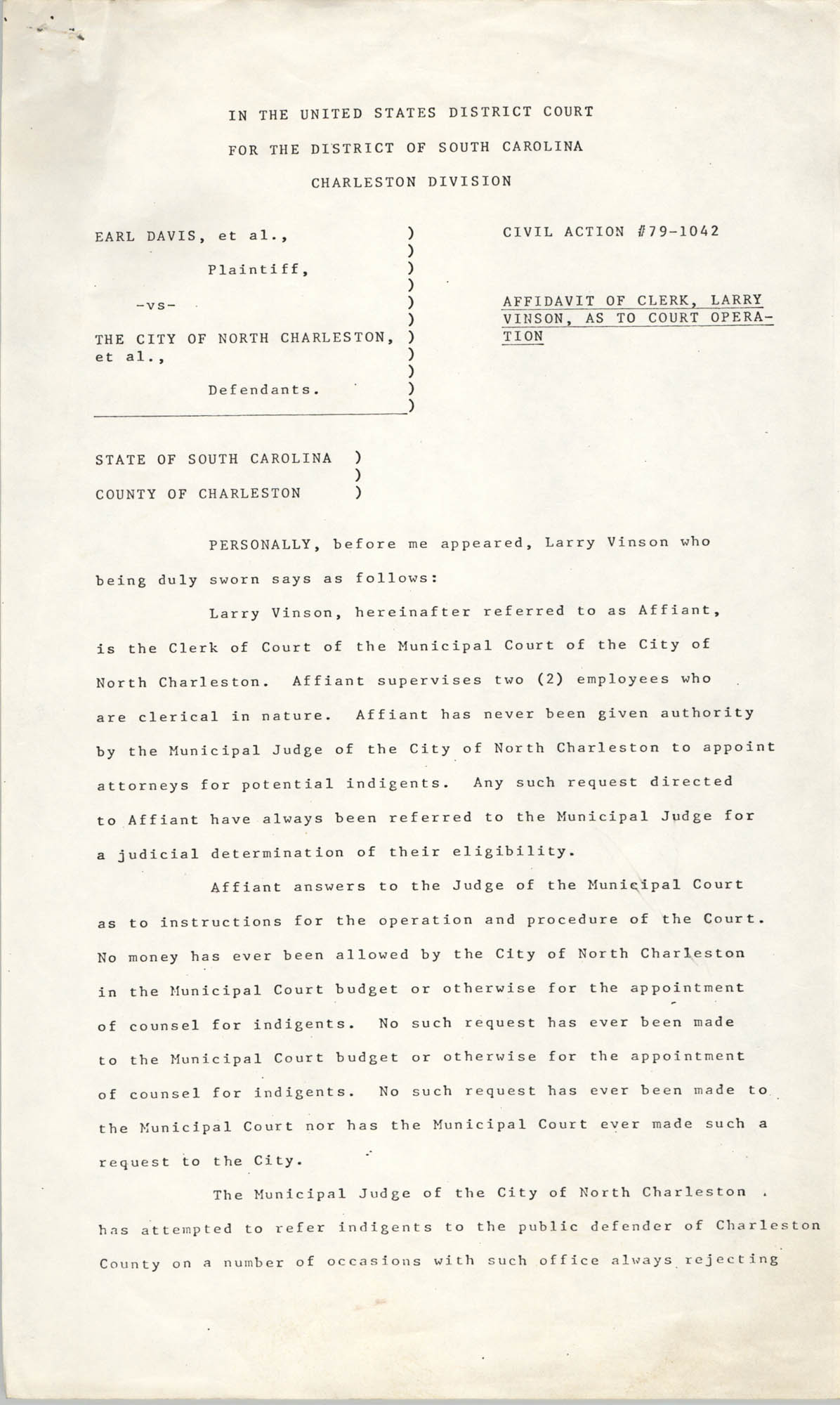 Civil Action No. 79-1042 Affidavit of Clerk, Charleston Division, Earl Davis, Jr. vs. The City of North Charleston
