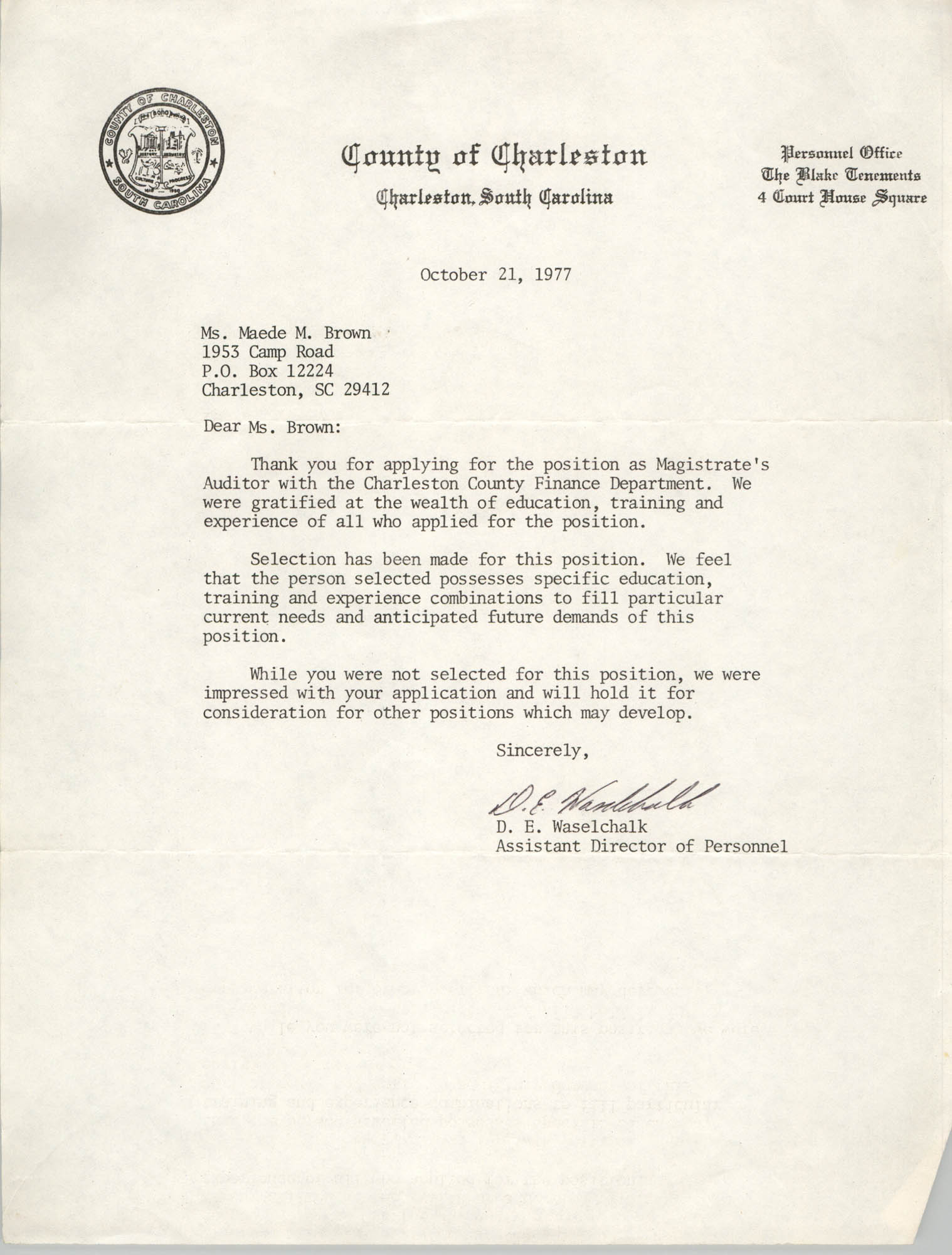 Letter from D. E. Waselchalk to Maede M. Brown, October 21, 1977