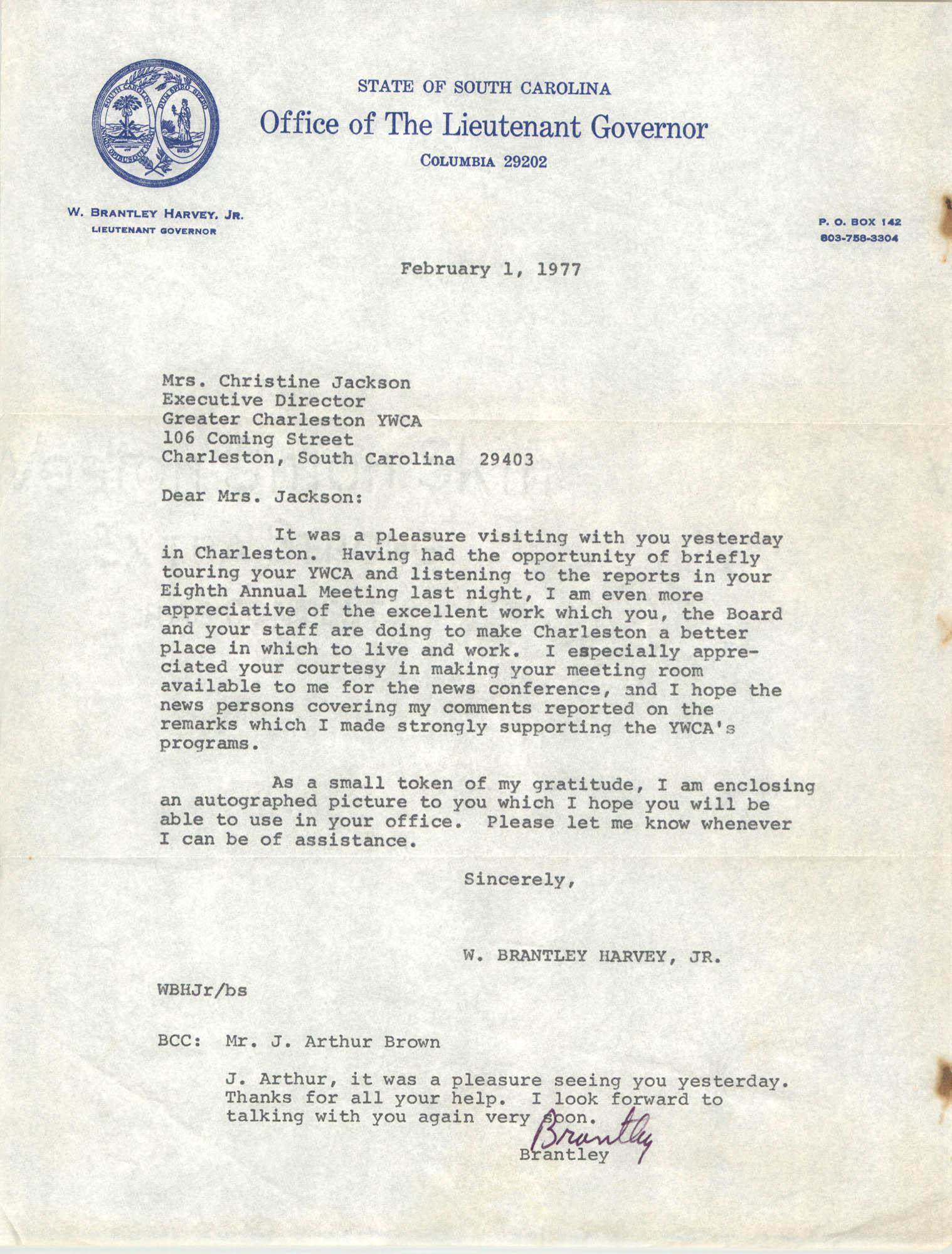 Letter from W. Brantley Harvey, Jr. to Christine Jackson, February 1, 1977