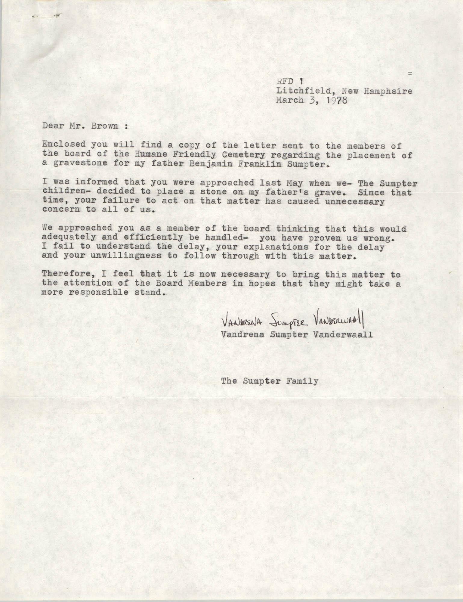 Letter from Vandrena Sumpter Vanderwaall to J. Arthur Brown, March 3, 1978