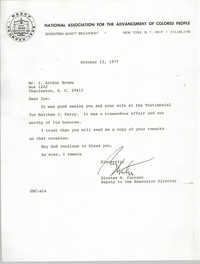 Letter from Gloster B. Current to J. Arthur Brown, October 12, 1977