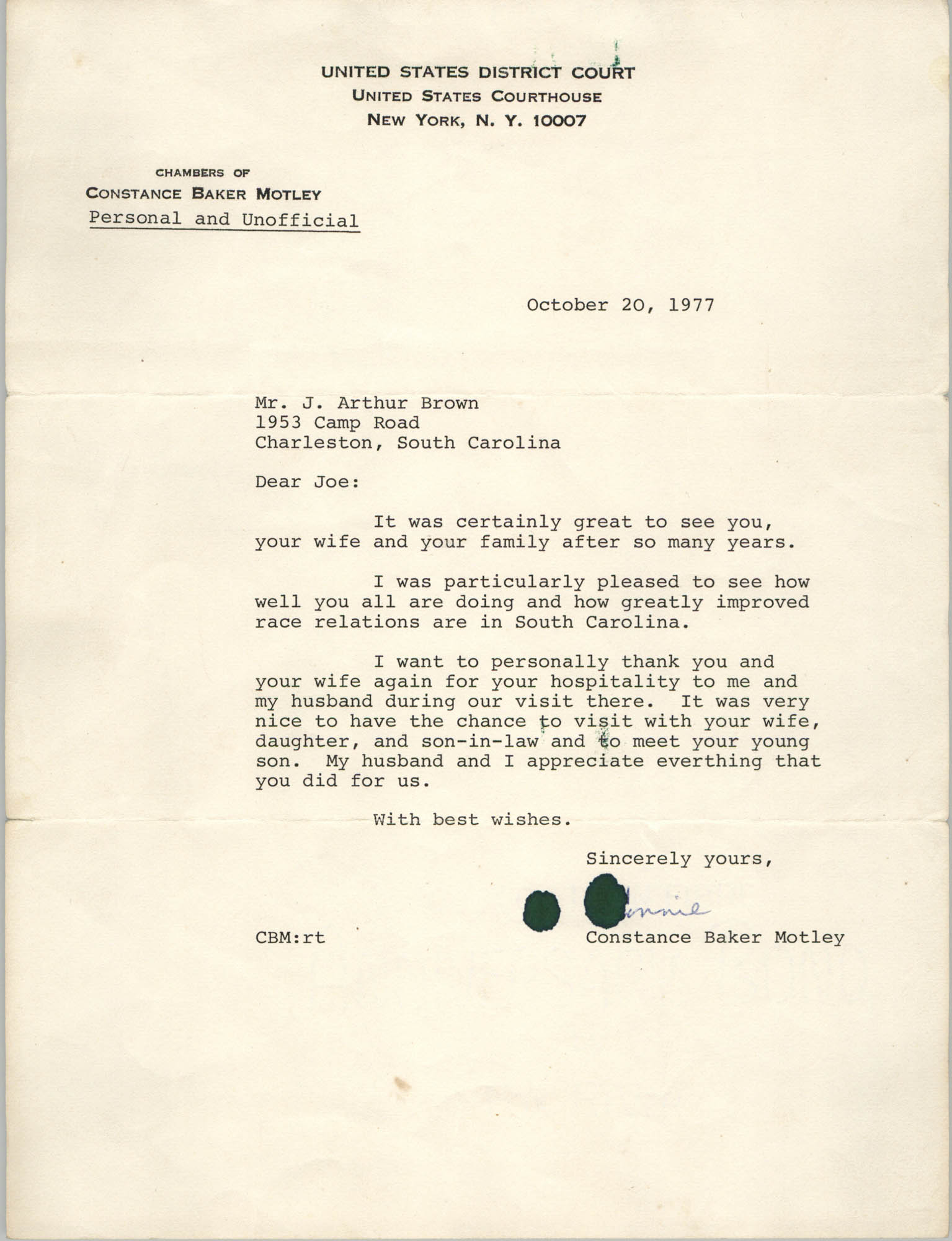 Letter from Constance Baker Motley to J. Arthur Brown, October 20, 1977