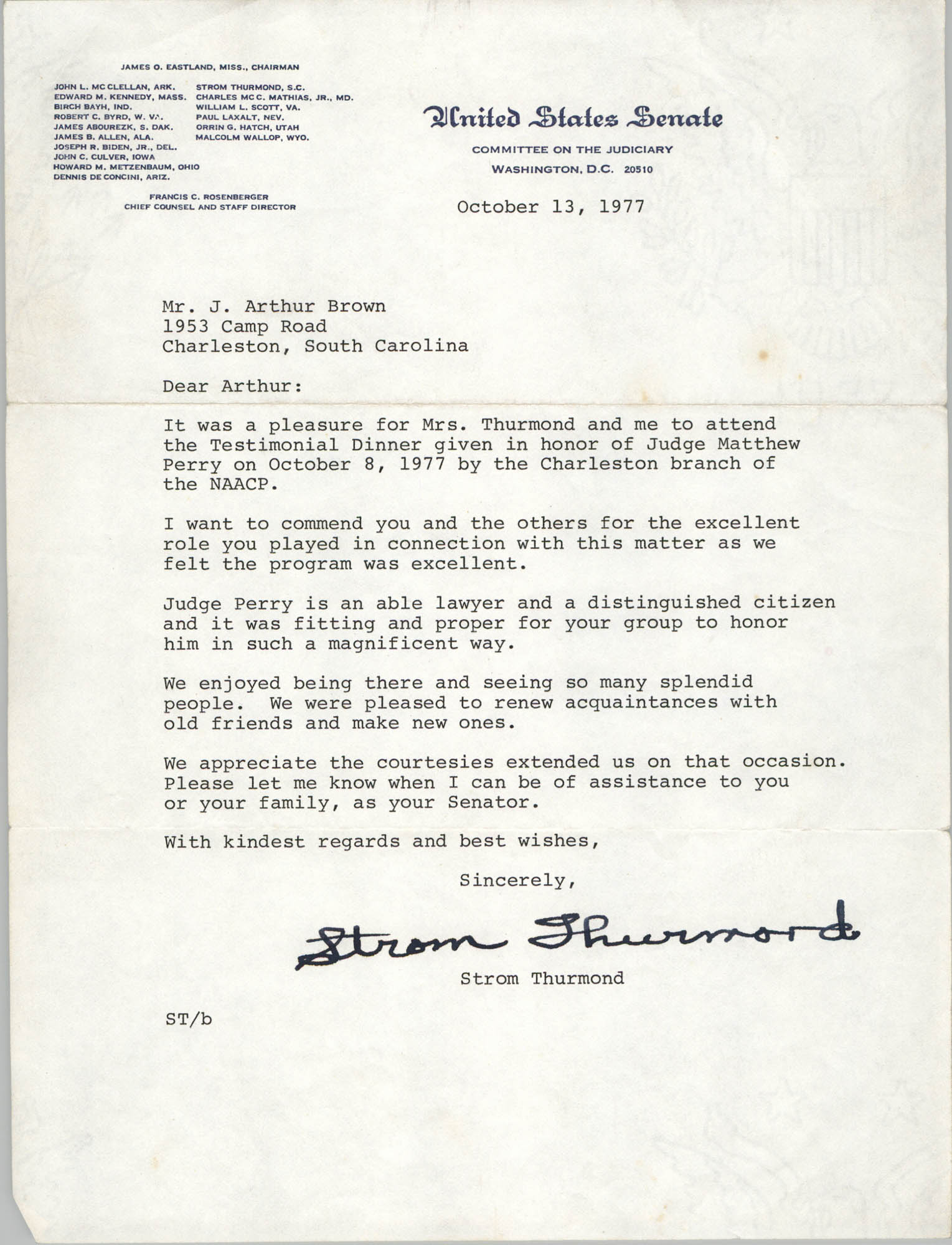 Letter from Strom Thurmond to J. Arthur Brown, October 13, 1977