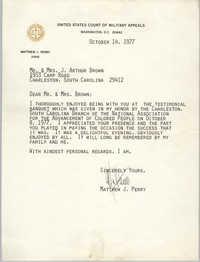 Letter from Mattew J. Perry to Mr. and Mrs. J. Arthur Brown, October 14, 1977