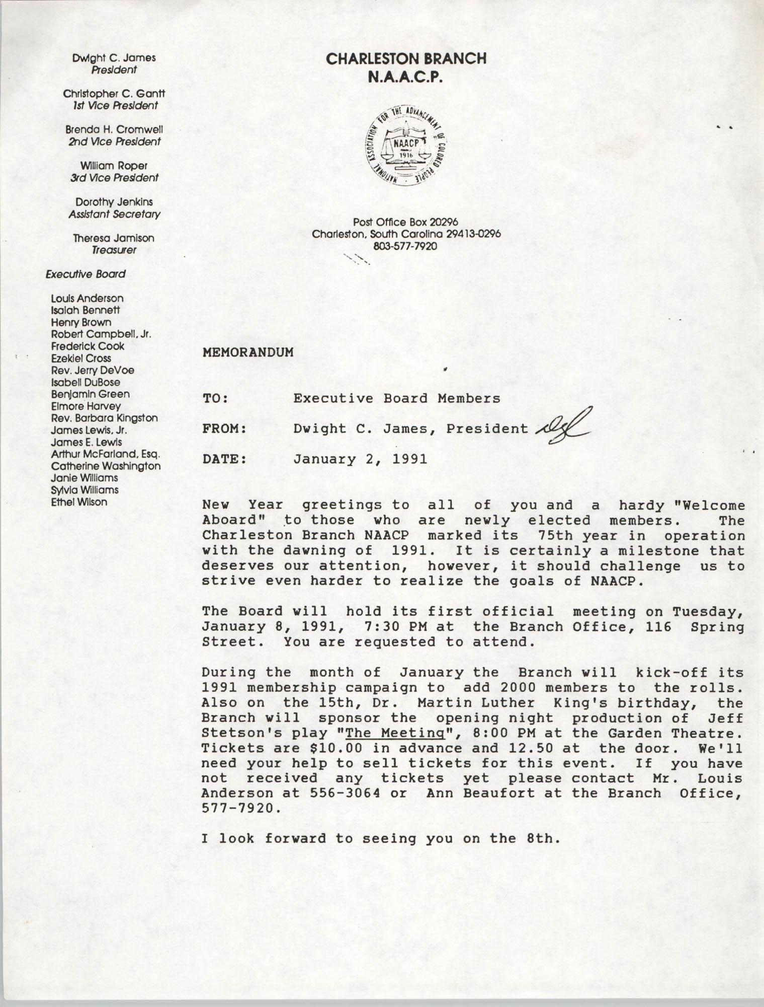 Charleston Branch of the NAACP Memorandum, January 2, 1991