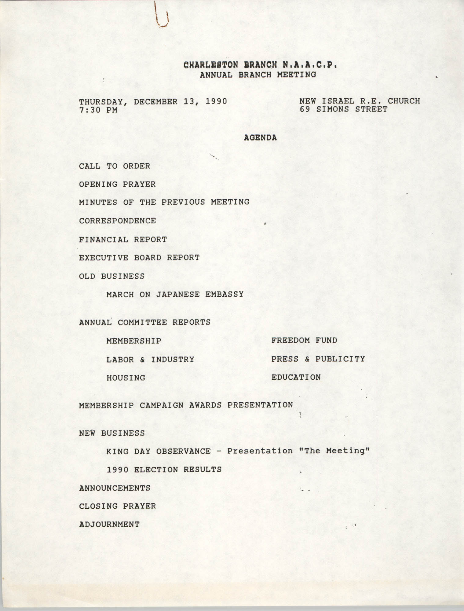 Agenda, Charleston Branch of the NAACP Annual Branch Meeting, December 13, 1990