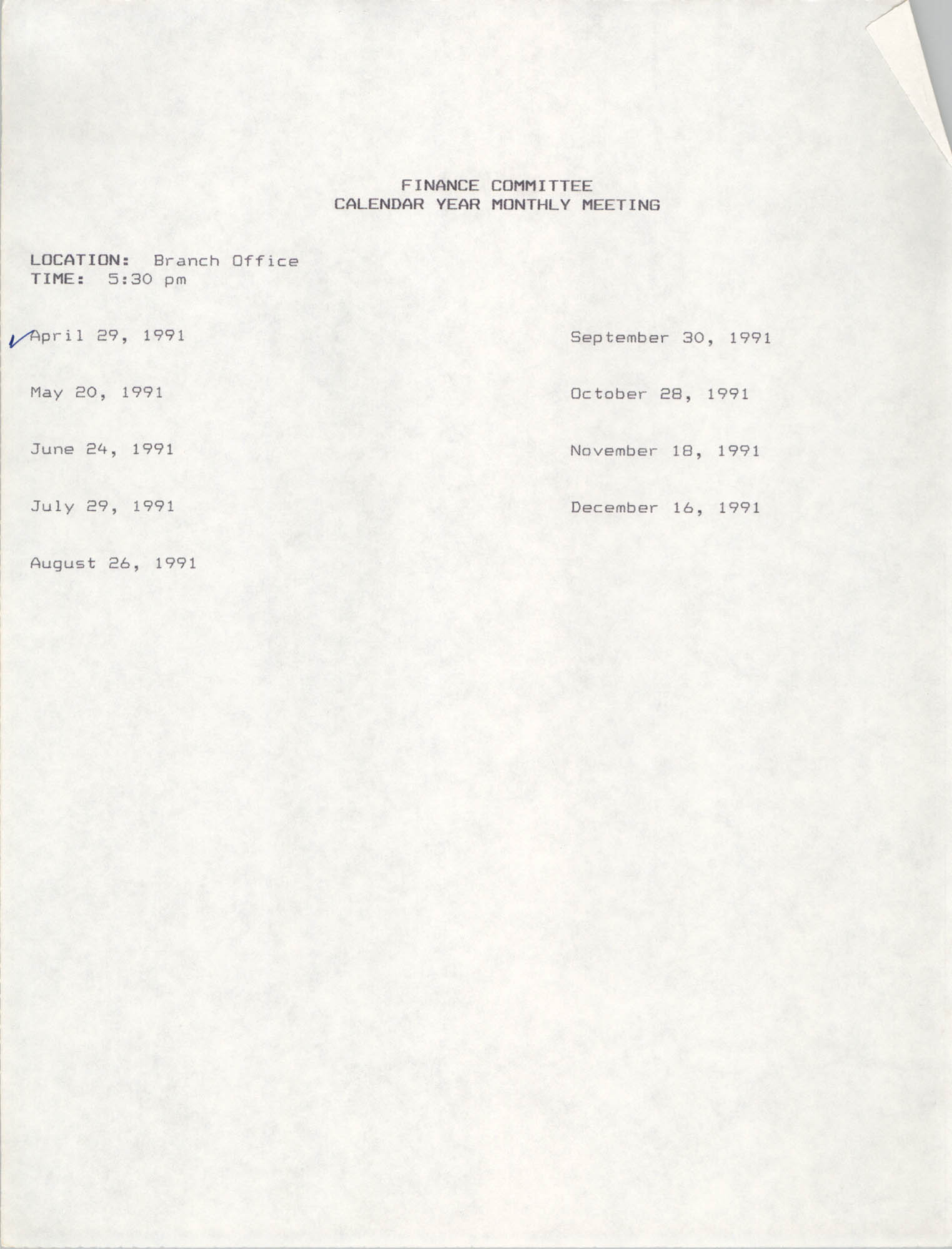 Charleston Branch of the NAACP Finance Committee Monthly Meeting Schedule, 1991