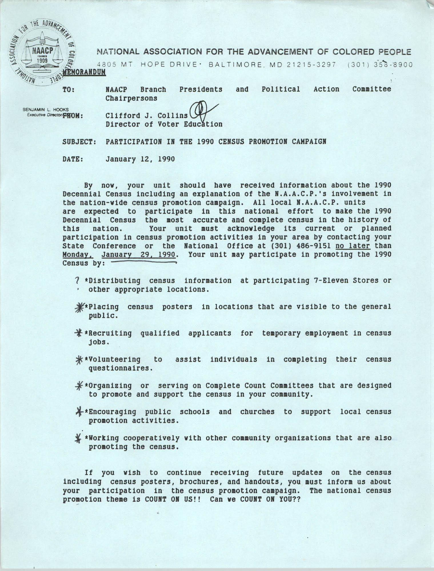NAACP Memorandum, January 12, 1990
