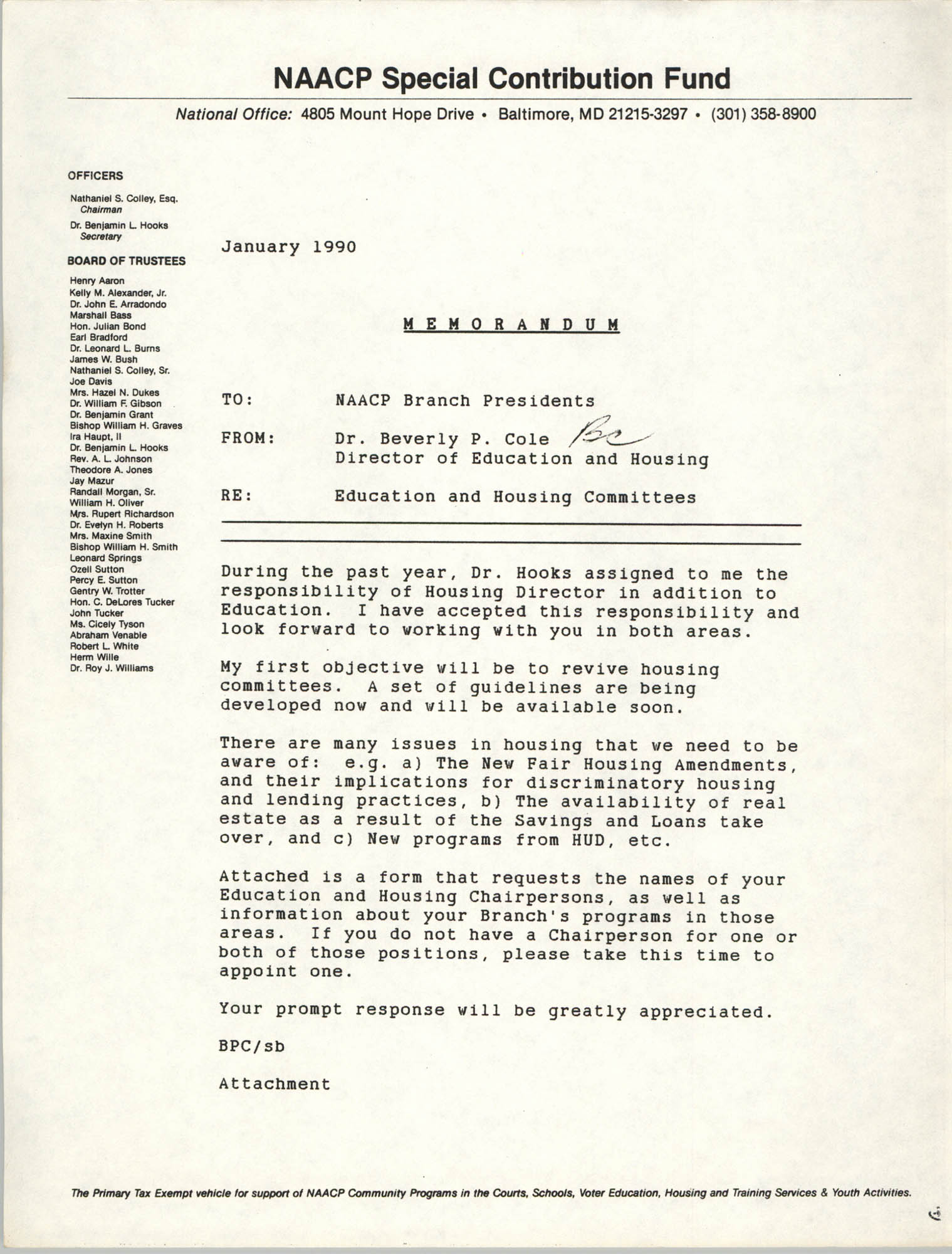 NAACP Special Contribution Fund Memorandum, January 1990