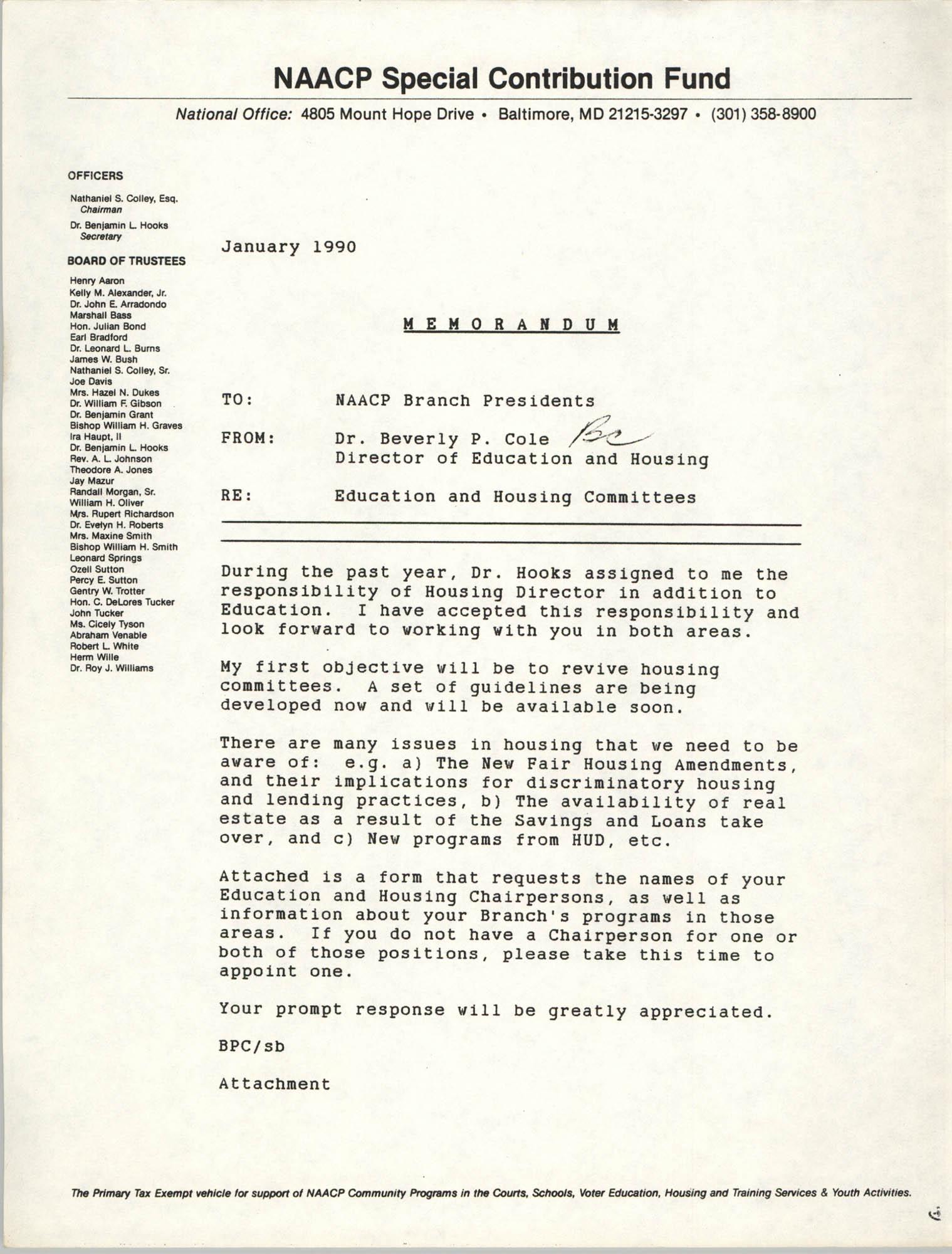 NAACP Special Contribution Fund Memorandum, January 1990