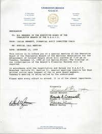 Charleston Branch of the NAACP Memorandum, December 10, 1988